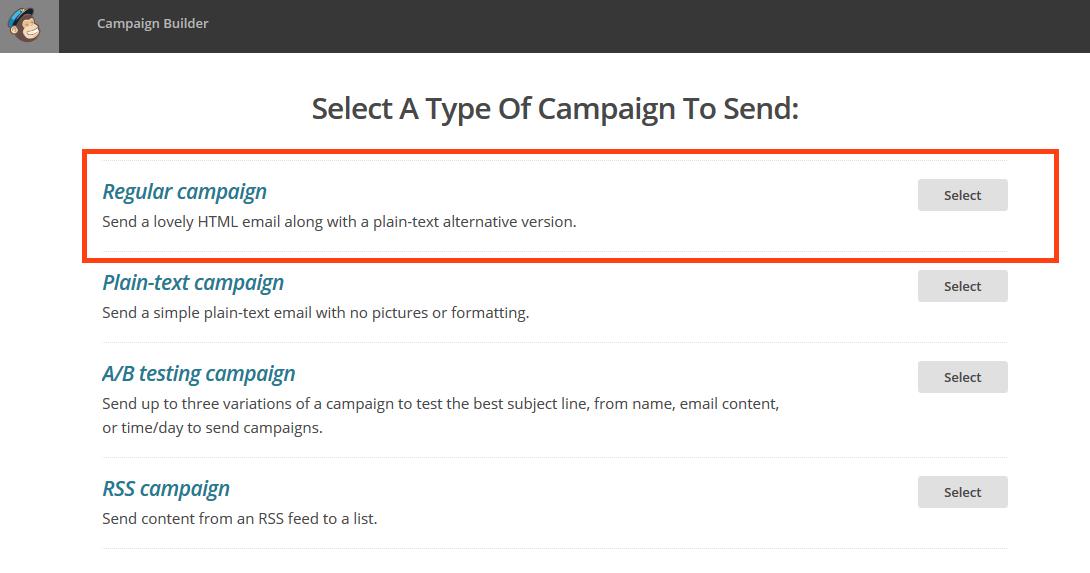 Create Campaign MailChimp